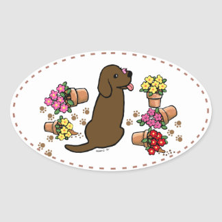 Chocolate labrador and flower pots oval sticker