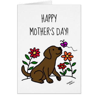 Chocolate Labrador and Green Mother's Day