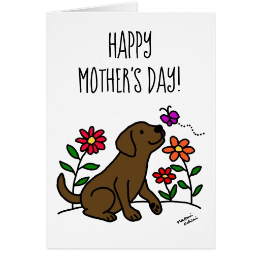 Chocolate Labrador and Green Mother's Day Card