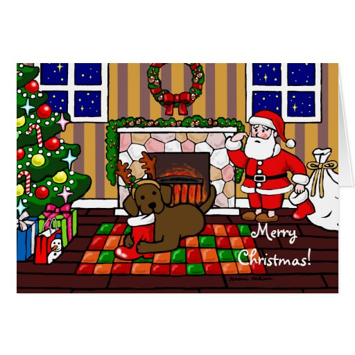 Chocolate Labrador and Santa Christmas Cartoon Card