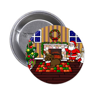 Chocolate Labrador and Santa Christmas Cartoon Pinback Button