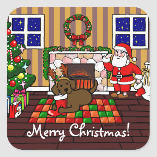 Chocolate Labrador and Santa Christmas Cartoon Square Sticker