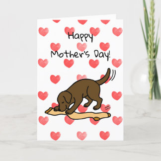 Chocolate Labrador and Stocking Mother's Day Card