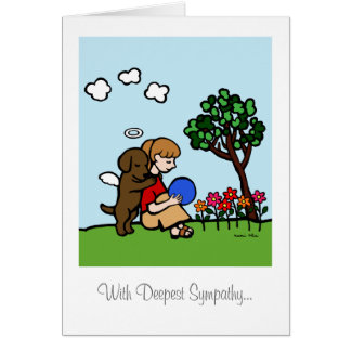 Chocolate Labrador Angel with Love Greeting Cards