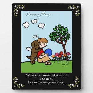 Chocolate Labrador Angel with Love Memorial Plaque