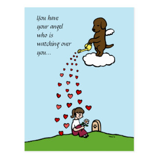Chocolate Labrador Angel with Love Post Cards