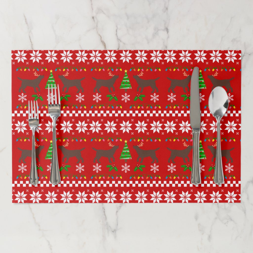 Chocolate Labrador Antlers Ugly Christmas Pattern Paper Placemat