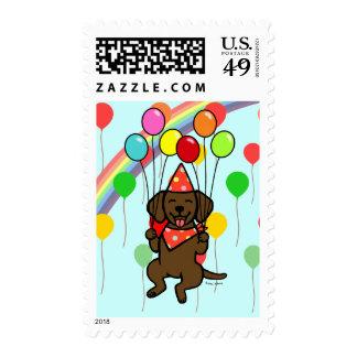 Chocolate Labrador Birthday Balloons Stamps