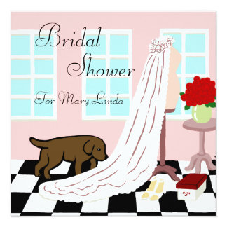 Chocolate Labrador Bridal Shower Card