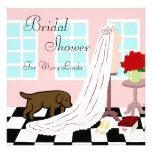 Chocolate Labrador Bridal Shower Invitations