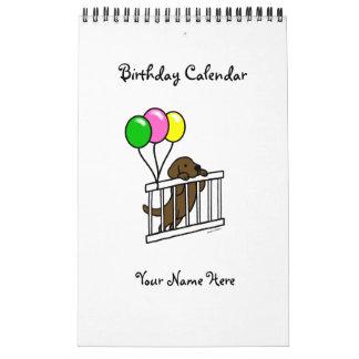 Chocolate Labrador Cartoon Birthday Calendar