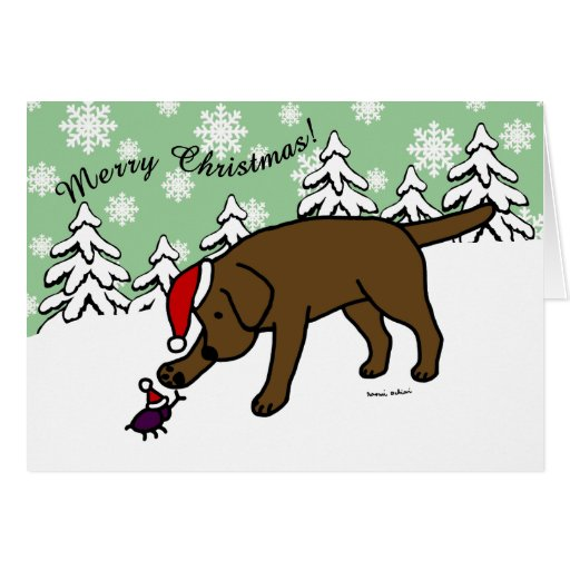 Chocolate Labrador Cartoon Christmas Snow Card