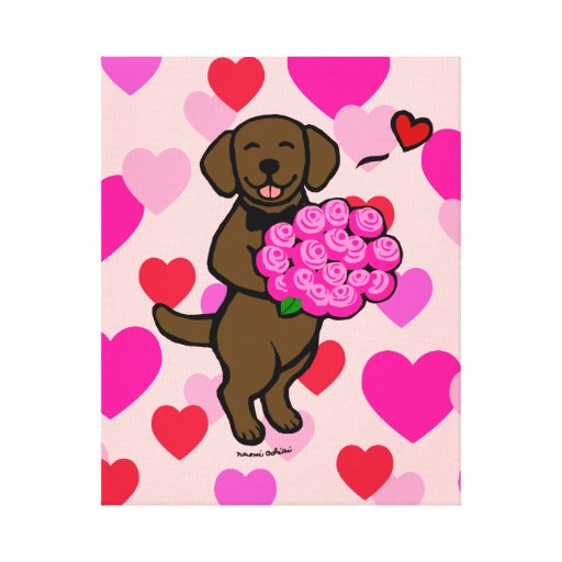 Chocolate Labrador Cartoon Heart Canvas Print