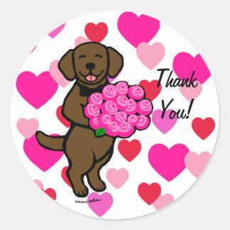 Chocolate Labrador Cartoon Heart Classic Round Sticker