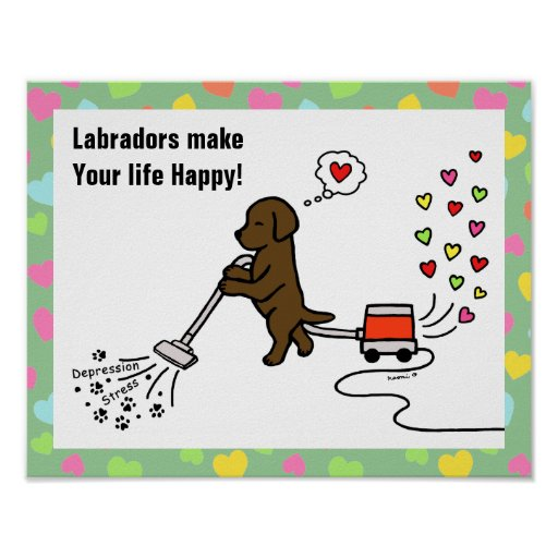 Chocolate Labrador Cartoon Poster