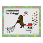 Chocolate Labrador Cartoon Posters