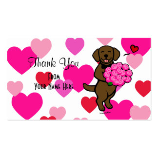 Chocolate Labrador Cartoon Roses Double-Sided Standard Business Cards (Pack Of 100)