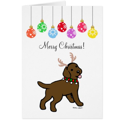 Chocolate Labrador Christmas Antlers and Ornaments Card