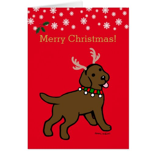 Chocolate Labrador Christmas Antlers Card