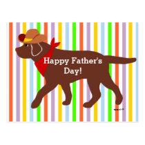 Chocolate Labrador Cowboy Cartoon Postcard