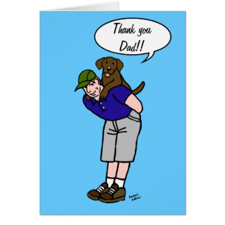 Chocolate Labrador Daddy in Blue Card