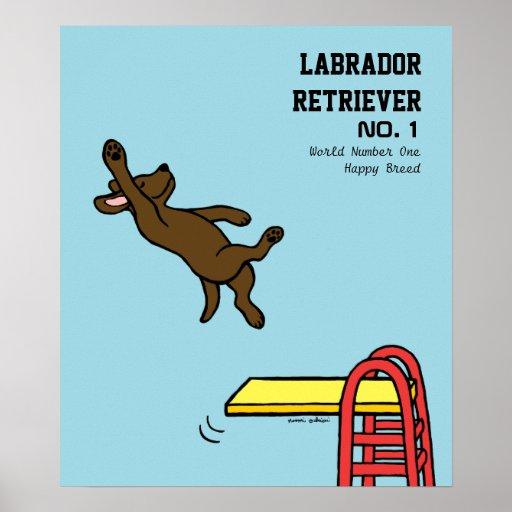 Chocolate Labrador Diving Cartoon Posters