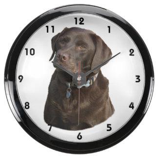 Chocolate Labrador dog photo portrait Aquarium Clock