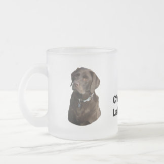Chocolate Labrador dog photo portrait Frosted Glass Coffee Mug
