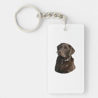 Chocolate Labrador dog photo portrait Double-Sided Rectangular Acrylic Keychain