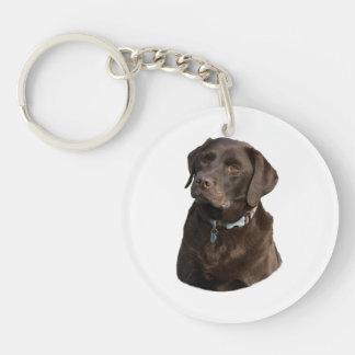 Chocolate Labrador dog photo portrait Double-Sided Round Acrylic Keychain