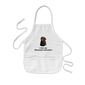 Chocolate Labrador dog photo portrait Kids' Apron