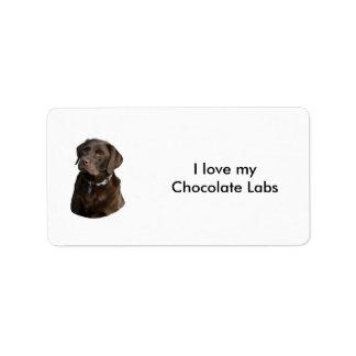 Chocolate Labrador dog photo portrait Custom Address Labels