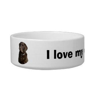 Chocolate Labrador dog photo portrait Cat Food Bowl