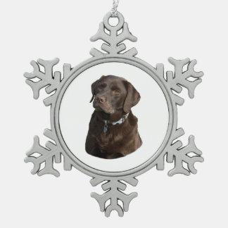 Chocolate Labrador dog photo portrait Snowflake Pewter Christmas Ornament
