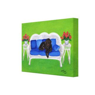 Chocolate Labrador en las ilustraciones del sofá Impresion De Lienzo