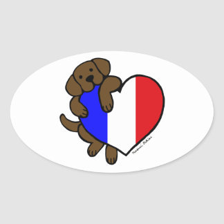 Chocolate Labrador & French Heart Cartoon Oval Sticker
