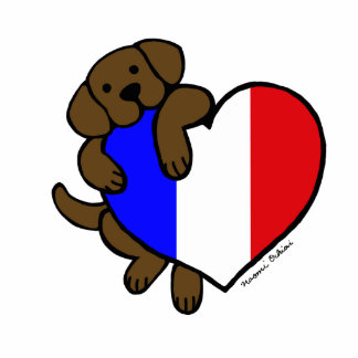 Chocolate Labrador & French Heart Cartoon Statuette