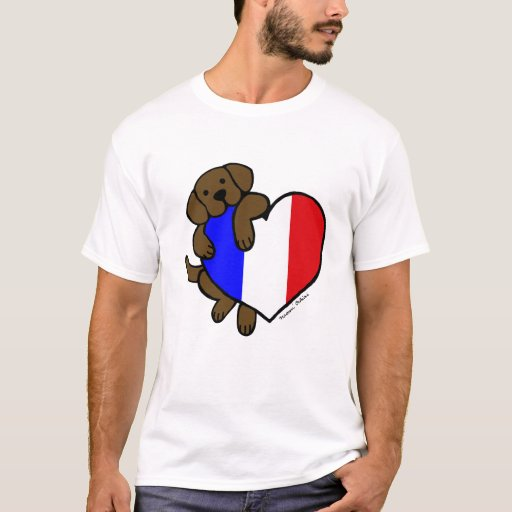 Chocolate Labrador & French Heart Cartoon T-Shirt