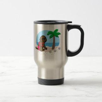 Chocolate Labrador Girl Summer Vacation Travel Mug