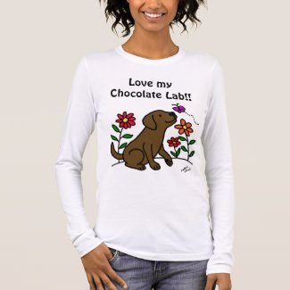 Chocolate Labrador & Green Long Sleeve T-Shirt