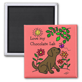 Chocolate Labrador & Green 2 Inch Square Magnet