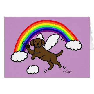 Chocolate Labrador Guardian Angel (Rainbow Bridge) Greeting Card