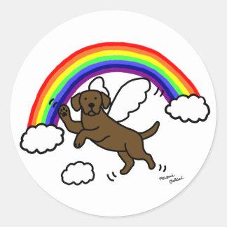 Chocolate Labrador Guardian Angel (Rainbow Bridge) Classic Round Sticker