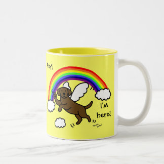 Chocolate Labrador Guardian Angel (Rainbow Bridge) Two-Tone Coffee Mug
