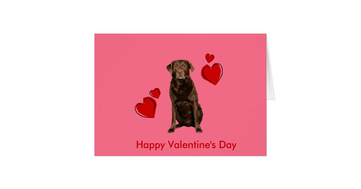 Chocolate Labrador Happy Valentine\'s Day Card | Zazzle.com