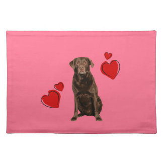 Chocolate Labrador Happy Valentine's Day Cloth Placemat