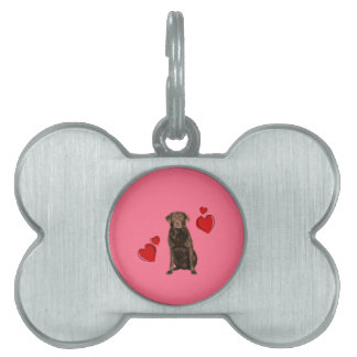 Chocolate Labrador Happy Valentine's Day Pet Name Tag
