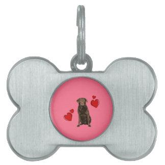 Chocolate Labrador Happy Valentine's Day Pet Tag