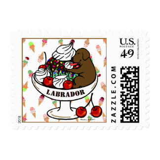 Chocolate Labrador & Ice Cream Sundae Postage