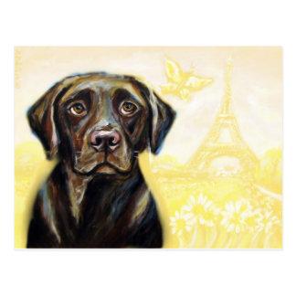 Chocolate Labrador in Paris Postcard
